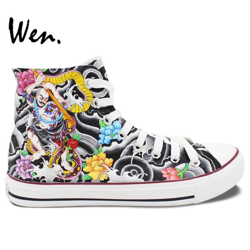 Prix pour Wen D'origine Chaussures Custom Design Peint À La Main Chinoiserie Fleurs Floral High Top Toile Sneakers D'anniversaire Cadeaux pour Hommes Femmes