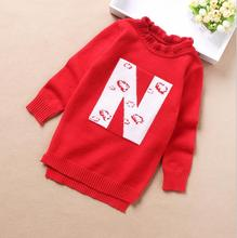 Wool Pullover Knitted Sweater O-Neck Casual Fashion Sweet Princess Clothes Letter pattern Lace collar Girl Sweater Hot Sale S141