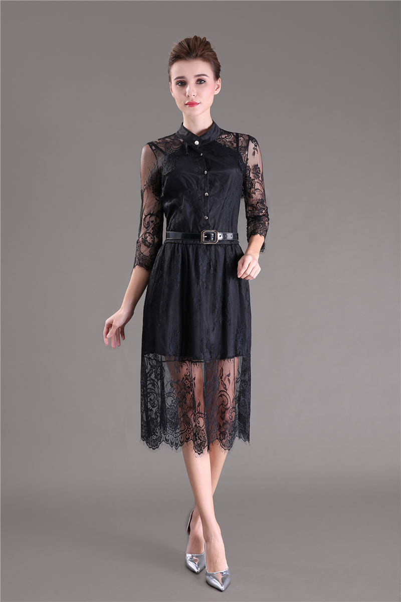 Hollow Out Half Sleeve Elastic Waist Floral Crochet Black Lace Dress