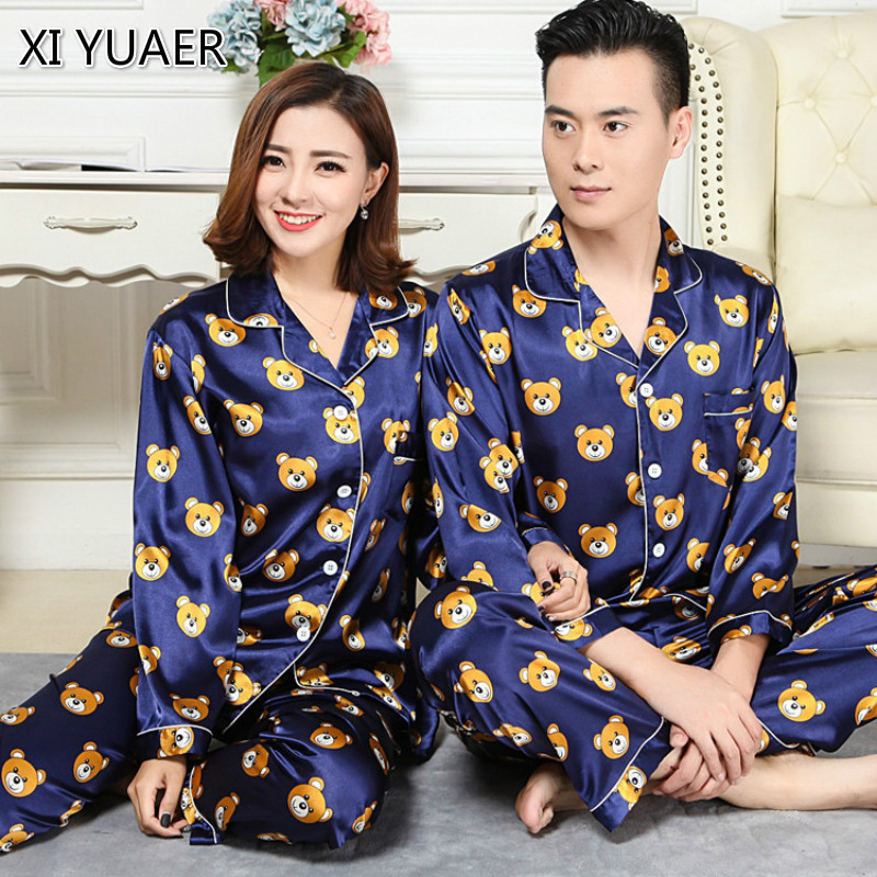 Couple Pajamas Luxurious Women Sleep Pajama Set 2018 Brand Sale Lovers Pajama Suit Home  ...