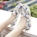 HEE GRAND Flat Shoes Women's Summer Style Round Toe Slip On Loafers Print  Lip Canvas Espadrilles Flats Zapatos Mujer XWD2279