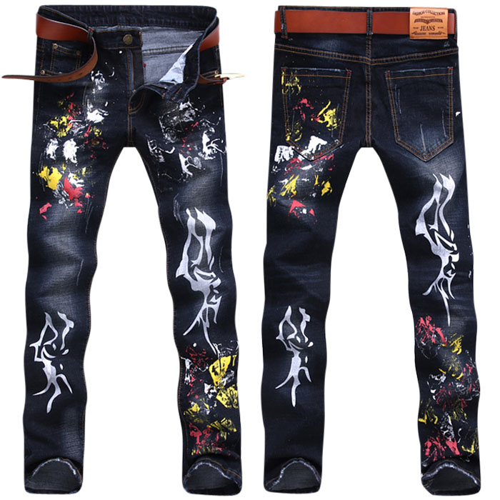 Multicolour painted print male jeans elastic slim autumn and Spring high quality long trousers fashion personality street pants fashion men s clothing print jeans male slim elastic colored drawing personality trousers flower trousers
