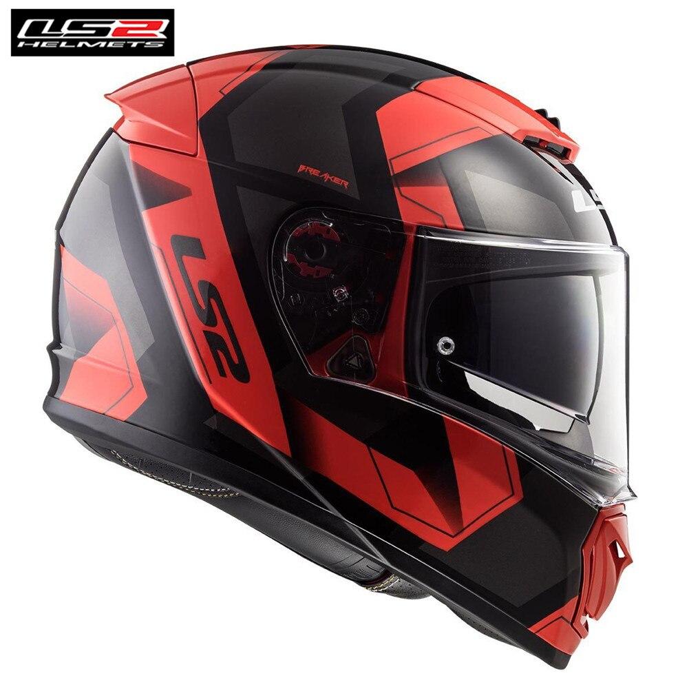* Livraison PINLOCK * LS2 FF390 DISJONCTEUR PHYSIQUE NOIR ROUGE Plein Visage Moto Casque Hommes Racing Casque Moto Moteur Helm