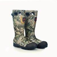Охота Рыбалка бренд обувь зимние Нескользящие ботинки на резиновой подошве водонепроницаемый камуфляж Охота обувь Большие размеры 40 46