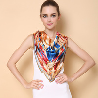 New Hijab Scarf Women Luxury Brand Silk Scarfs Foulard Square Head Wraps Fashion Shawl Manufacturer 90