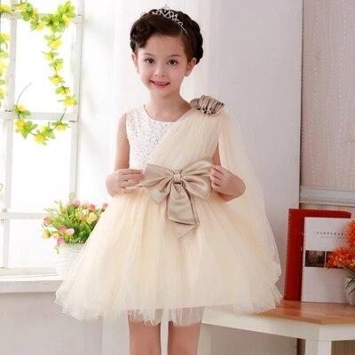 Children dress girls long sleeved wedding dress flower girl princess dress tutu Korean champagne