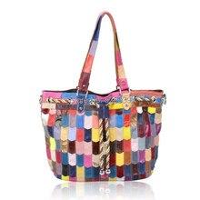 Tasche leder trend 2016 büro-tasche frauen patchwork handtasche mehrfarben farbe casual leder umhängetaschen