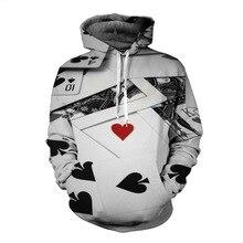 Fashion Poker Autumn Hoody Hoodies Men/women 3D Sweatshirts With Cap Print Couple Shirt Casual Hooded Hoodies Plus S-3XL T3646
