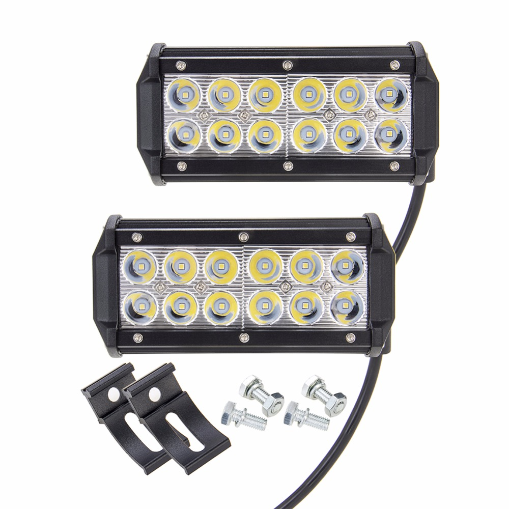 2Pcs  36W 7IN LED  Spot Light Bar OFFROAD Work Lamp 4X4 SUV Atv Camp UTE