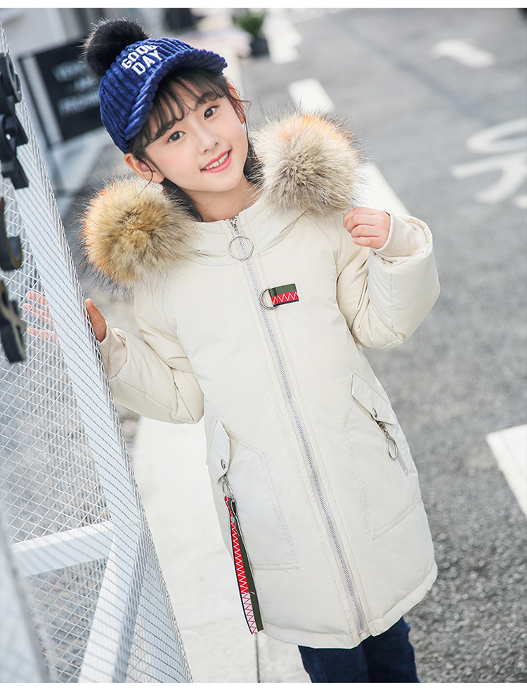 Winter Thick Kids Parkas Girls White Duck Down Coats Long Children Coats Hooded Real Raccoon Fur Girls Jackets WUA810083 недорого