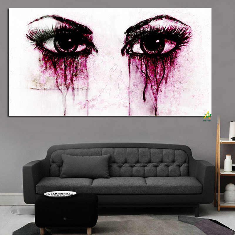 Hd Cetak Lukisan Minyak Abstrak Wanita Menangis Air Mata Mata