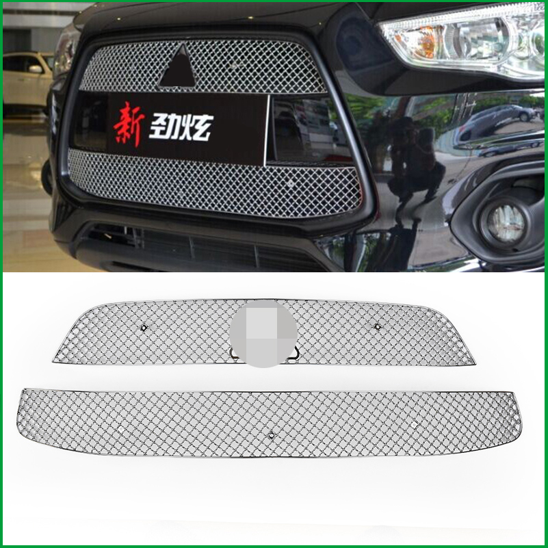 Car styling Stainless Steel Front Bumper Honeycomb Grille For Mitsubishi ASX 2013 2014 2015 Center grill Cover Trim Accessories stainless steel full window with center pillar decoration trim car accessories for hyundai ix35 2013 2014 2015 24