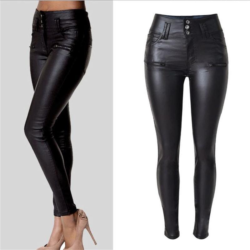 2018 nuevo invierno elegante señoras moda PU Leggings de cuero salvaje Delgado lápiz pantalones pies pantalones de cuero diseño de marca vestido de mujer