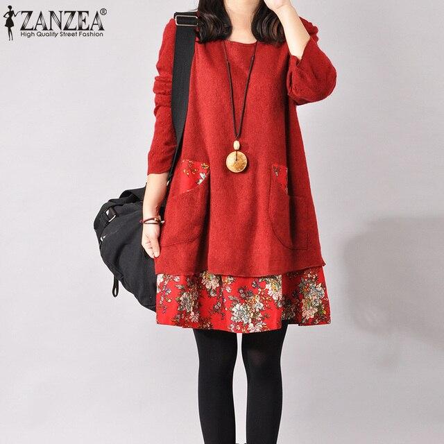 d7651bb9745fe75 Лучшая цена ZANZEA 2019 осень зима платье для женщин Винтаж ...