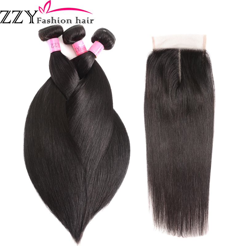 ZZY Fashion Hair Straight Hair Bundles With Closure  Peruvian Hair 3pcs Non Remy Human Hair Bundles With Closure(China)