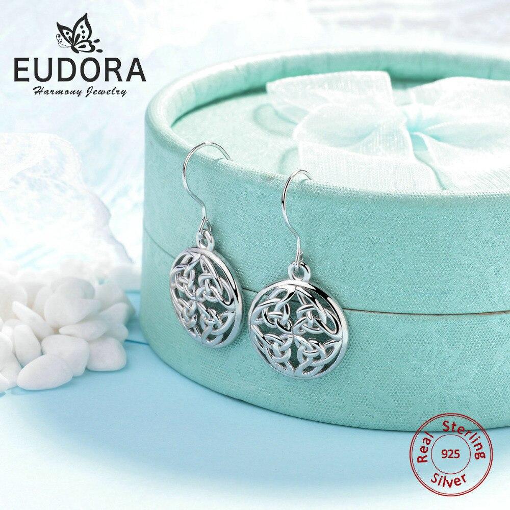 EUDORA,, настоящее чистое 925 пробы серебро, кельтский узел, круглые серьги-гвоздики, уникальные кельтские серьги, для женщин, хорошее ювелирное изделие, подарок CYE12