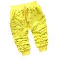 Venda quente 2016 nova primavera crianças felizes peixes dos desenhos animados 100% calças de algodão de alta qualidade 0-2 anos de moda bebê menino calças meninas