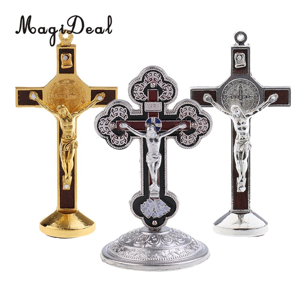 3PCS Crucifix Jesus Christ On The Stand Cross Figurine for