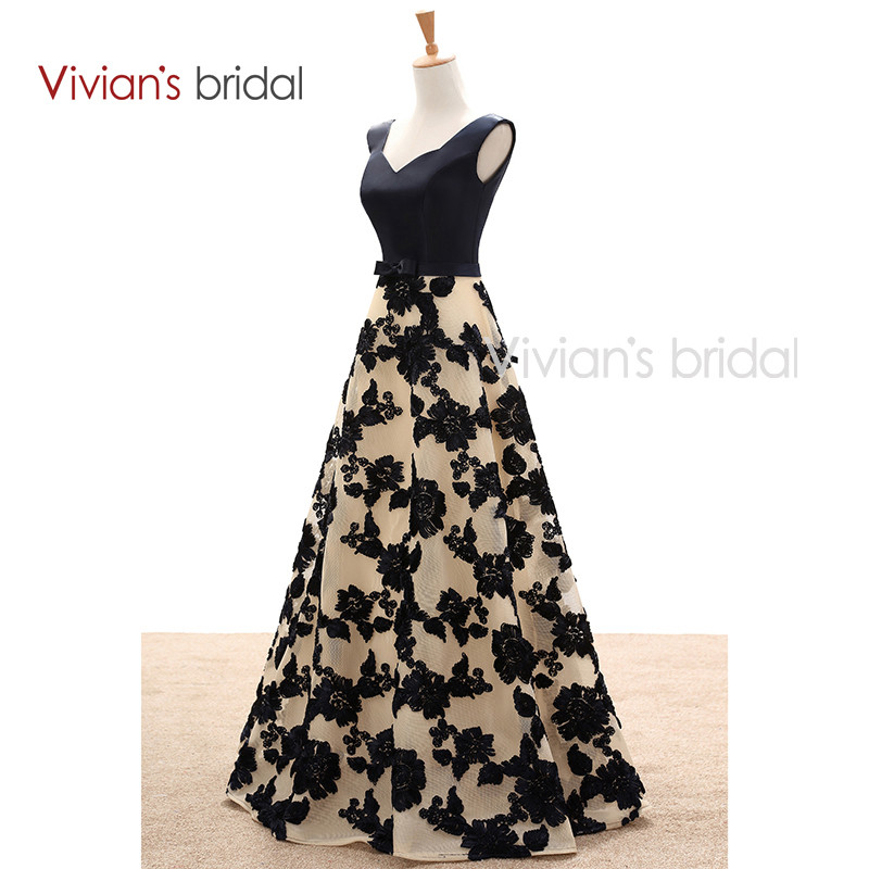 Vivian's Bridal Elegant A Line Evening Dresses Satin Floral Print Lace Long Formal Evening Gown Floor Length Women Party Dresses 10