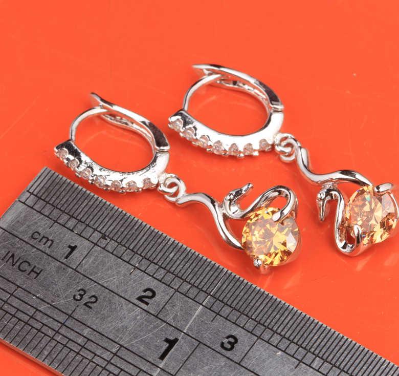 Гладкая прекрасный лебедь шампанское коричневый/оранжевый Morganite стерлингового серебра 925 партия падение Длинные Висячие серьги для Для женщин S5611