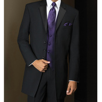 Three Piece Long Black Bussiness Mens Suits Groom Wear 2018 Four Buttons Three Piece Wedding Tuxedos