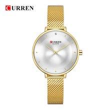 CURREN Famous Brand Gold Silver Casual Quartz Watch Women Mesh Stainless Steel Dress Women Watches Relogio Feminino Clock