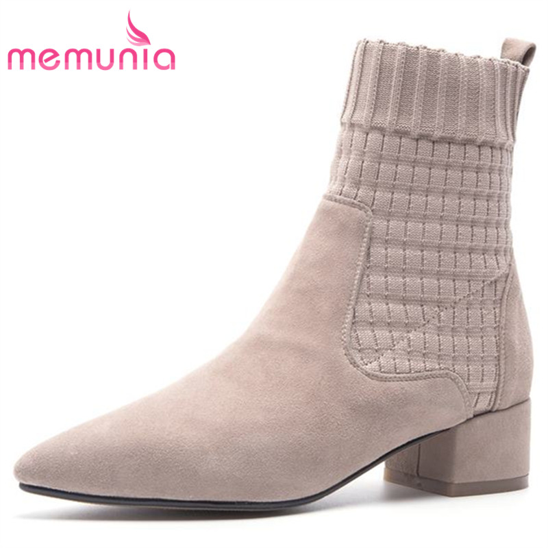 MEMUNIA new arrive fashion ankle boots for women hot sale pointed toe autumn winter suede leather boots thick heels shoes woman printing new boots 2015 autumn winter genuine leather mixed colors thick with pointed toe woman boots stylish comfortable shoes
