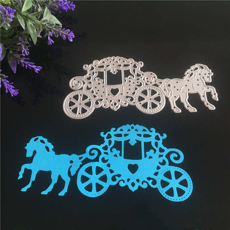 Carriage with <font><b>Horse</b></font> <font><b>Metal</b></font> Steel Cutting Dies Stencil for DIY Scrapbook Embossing Paper Craft Creative Wedding and Love Dies image