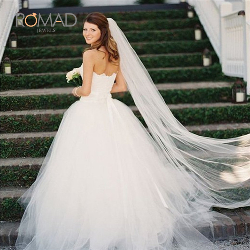 2M White/Ivory Long Bridal Headwear Wedding Bridal Veil Long With Comb One-layer Wedding Accessories  velo novia S3(China)