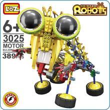 LOZ Robot Toys For Boys Motor Building Block OX Eyed Big Eye Cute Battery Gear Brick Mantis Yellow Razor Science Toy Gifts 3025