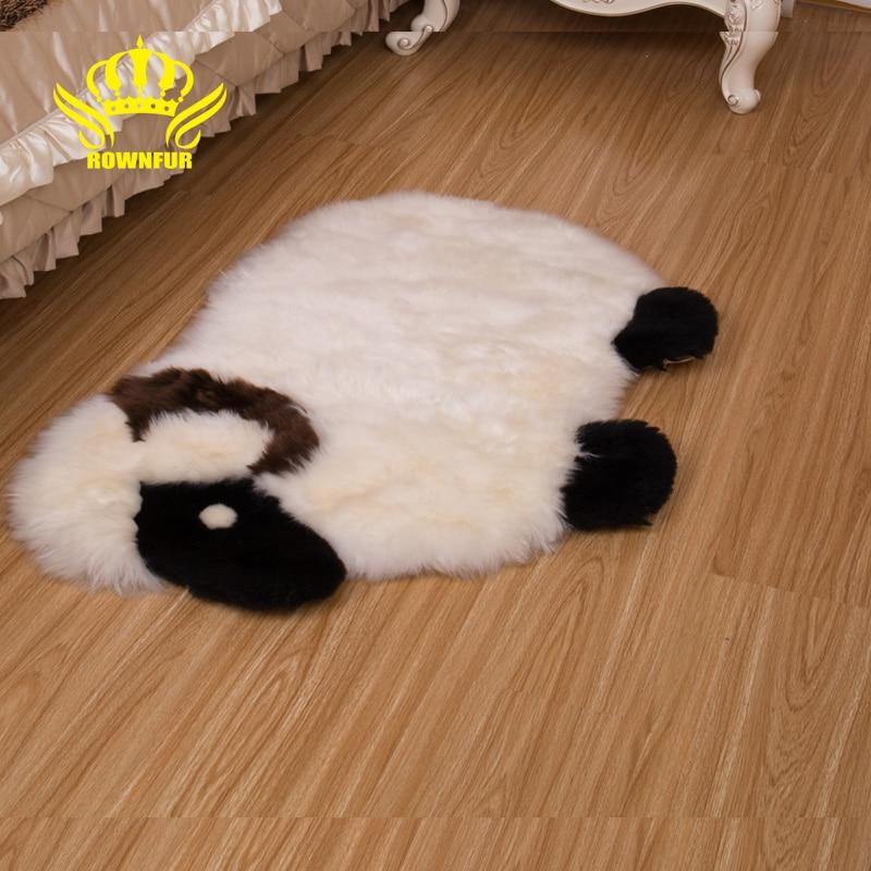 ROWNFUR doux peaux de mouton naturelles tapis décoratif tapis de siège plaine peau fourrure moelleux chaud tapis enfants chambre couverture chambre