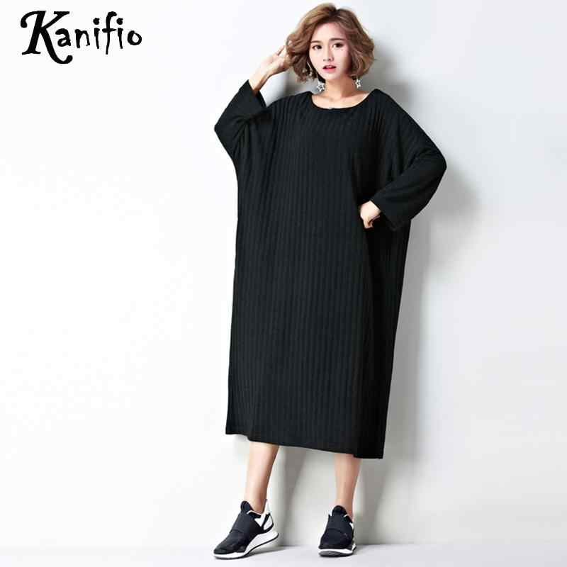 Kanifio Brand Oversized Women Autumn Winter Dress Lady Casual Loose Dresses  Long Top Shirt Tunics Vestidios 505c8f26a863