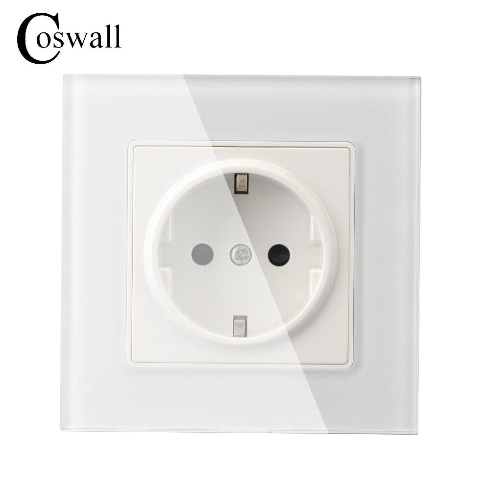Coswall pared cristal Panel toma de corriente enchufe conectado a tierra, 16A EU enchufe eléctrico estándar 86mm * 86mm
