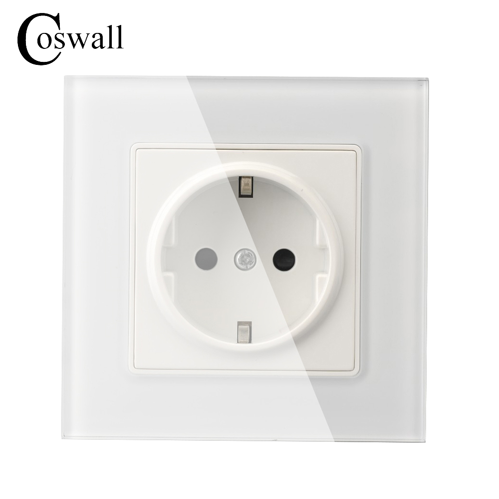 Coswall Wall Crystal Glass Panel Power Socket Plug Grounded, 16A EU Standard Electrical Outlet 86mm * 86mm 1pc 3888 electric bookbinding machine financial credentials document archives binding machine