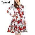 Tonval Women Floral Vintage Long Sleeve Tunic Dress Audrey Hepburn Style 50s Elegant Knee Length 3XL Dress