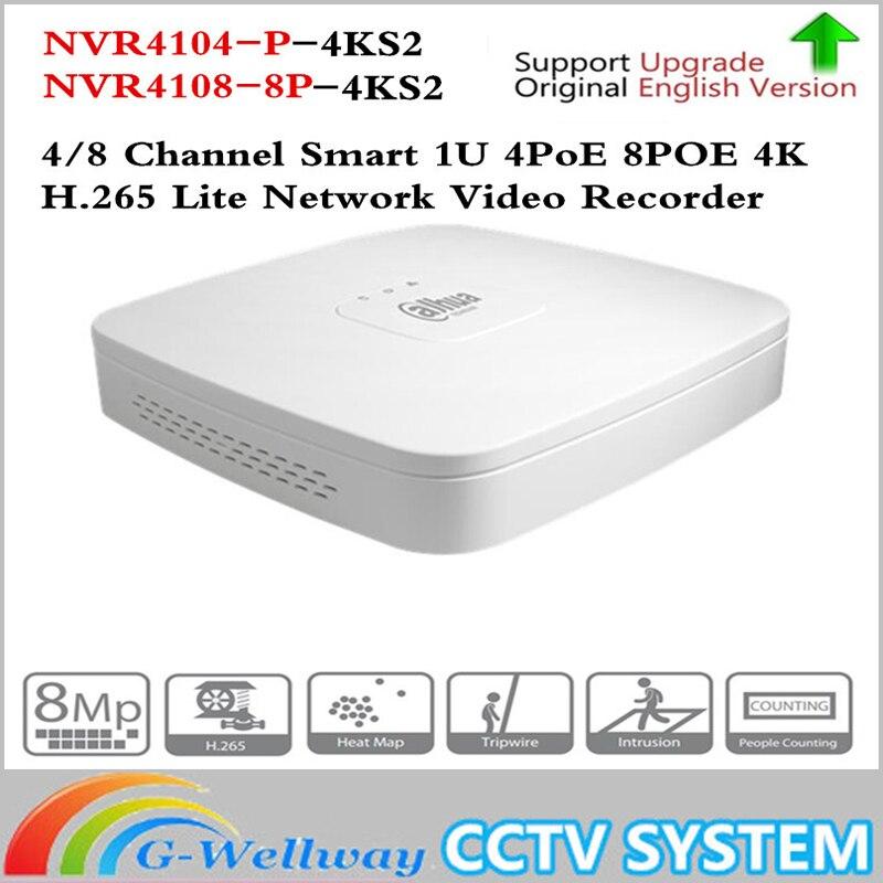 Dahua 4 К POE NVR NVR4104-P-4KS2 NVR4108-8P-4KS2 с 4/8ch PoE h.265 видео Регистраторы Поддержка ONVIF 2,4 SDK CGI белый POE NVR