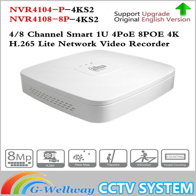 Dahua 4K POE NVR NVR4104-P-4KS2 NVR4108-8P-4KS2 with 4/8ch PoE h.265 Video Recorder Support ONVIF 2.4 SDK CGI White POE NVR 2014 new arrival dahua smart 1u nvr with p2p mini nvr nvr4104 nvr4108 nvr4116 free dhl shipping