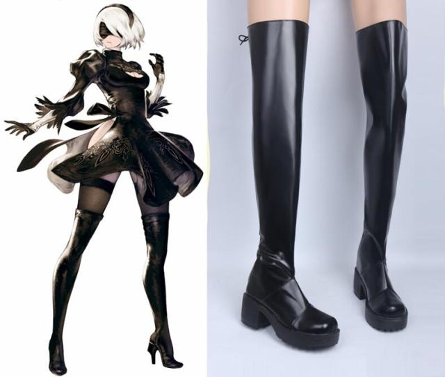 2 Type B Cosplay Costumes Black Long Thigh Boot Knee High Boots Carnival  Cosplay High-Heeled Shoes 724b972ae23f