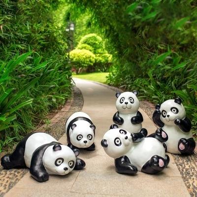 Simulation Géant Panda Décoration Extérieure Jardin Paysage Artisanat FRP Jardin Décoration Sculpture Décoration De Jardin