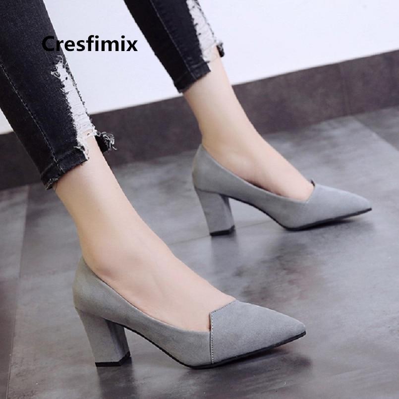 Cresfimix Women Cute Square High Heel Shoes Lady Black Comfortable Slip On High Heels Fashion Shoes Vrouwen Hoge Hakken A3535