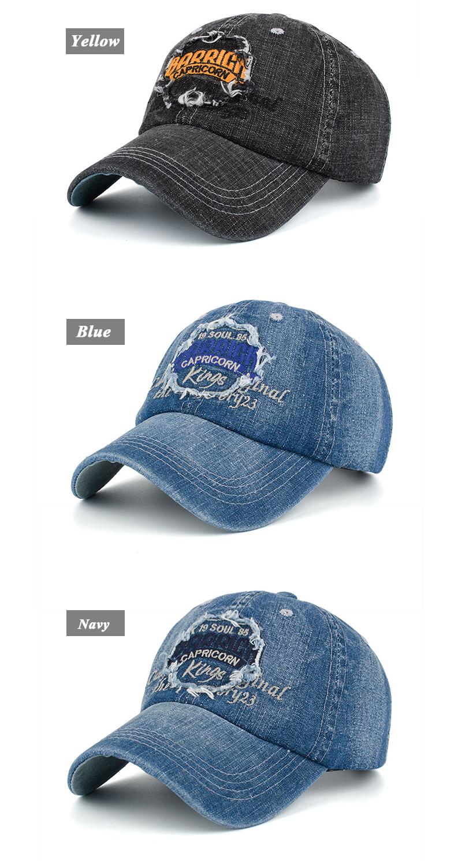 "Embroidered ""Capricorn"" Baseball Cap - Yellow Embroidery, Blue Embroidery and Navy Embroidery Options"