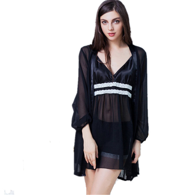2017 Sexy Silk Robe Nightgown Lace babydolls Nightdress Suits Women 's Evening Dress Skirt Two - piece Women' s Home Service