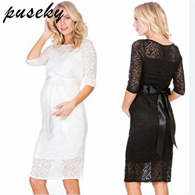 f9fd229d2ec09 US $11.49 23% OFF Puseky Sexy Lace Elegant Maternity Officia Dress Half  Sleeve O Neck Two Layers Maternity Dress for Pregnancy Evening Party  Dress-in ...