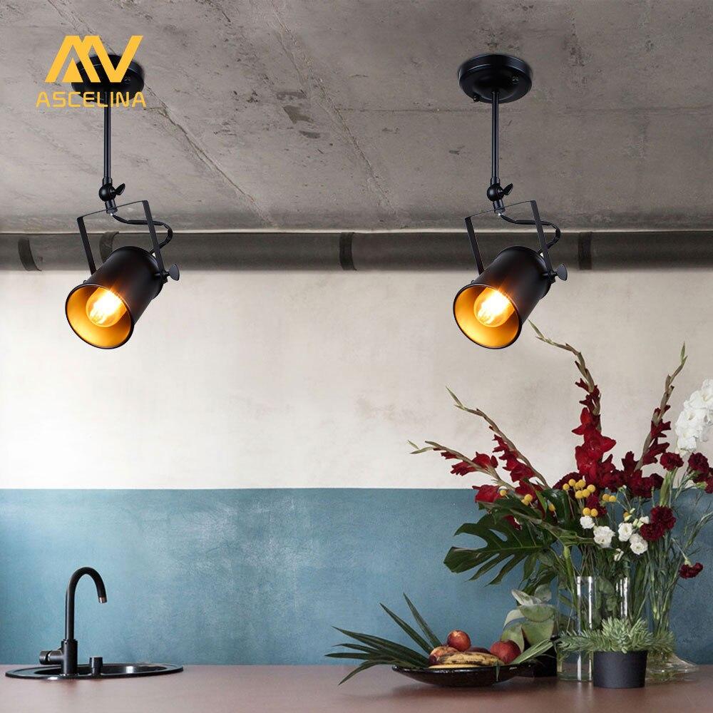 Industrial pendant light vintage loft pendant light spotlights american pendant lamp led lamp restaurant cafe bar decoration in pendant lights from lights