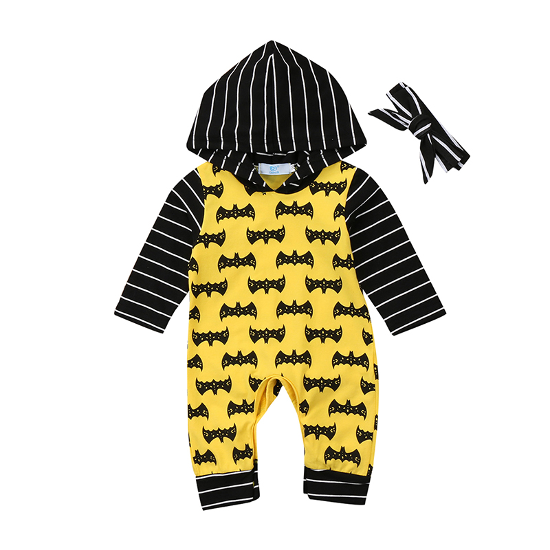 0-18M Fashion Newborn Infant Baby Boy Girl Long Sleeve Batman Hooded Romper Jumpsuit Headband 2PCS Outfit Baby Clothes newborn infant warm baby boy girl clothes cotton long sleeve hooded romper jumpsuit one pieces outfit tracksuit 0 24m