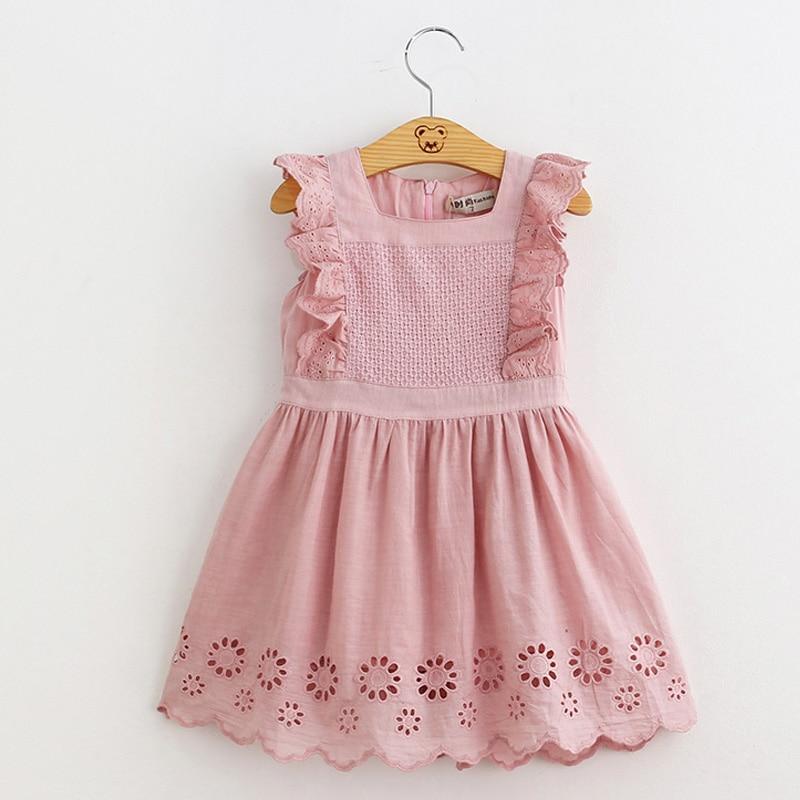 Hurave Lilota Style Girl Dress Embroidered Sleeveless Princess Dress Girls Kids Clothes Infant Casual Children Dress