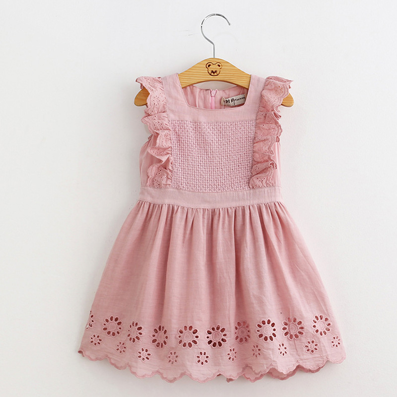 Hurave Lilota Style Girl Dress Embroidered Sleeveless Princess Dress Girls Kids Clothes Infant Casual Children Dress girls spot embroidered sleeveless jumper