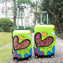 1 Piece Heart Printing Green Hardside Trolley Rolling Travel Luggage ABS PC 20 24 Lightweight Universal 4 Wheels Fochier XQ012
