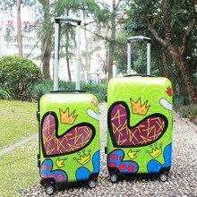1 Piece Heart Printing Green Hardside Trolley Rolling Travel Luggage ABS PC 20 24 Lightweight Universal 4 Wheels Fochier XQ012