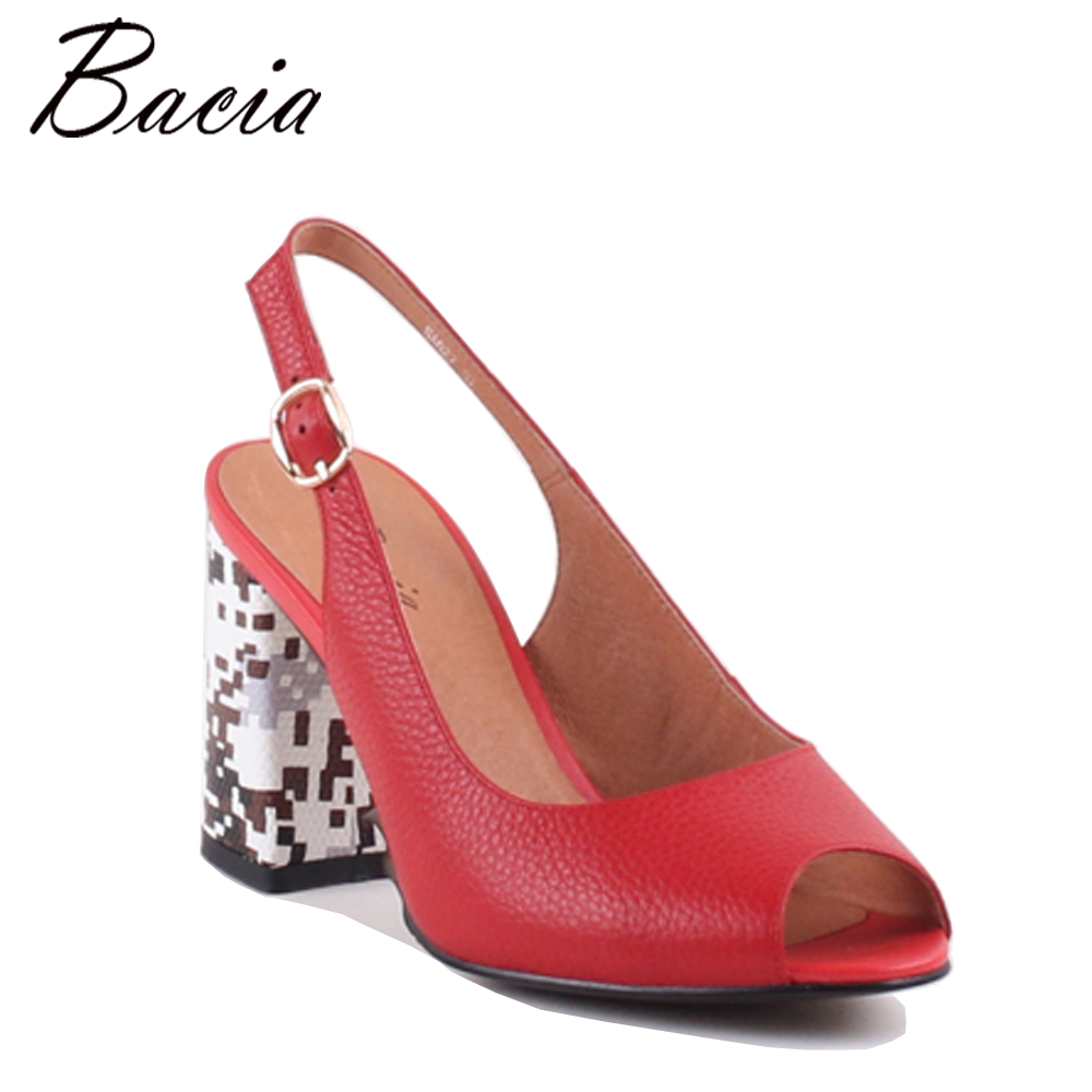 Bacia Fashion RED Full Grain Leather Sandals 8.6cm Print Thick Heels High quality Genuine Leather Peep Toe Pump Size 35-41 MB008 стоимость
